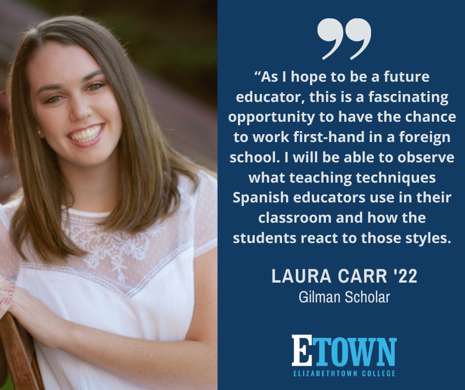 Elizabethtown College Student Awarded the Benjamin A. Gilman International Scholarship