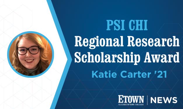 Etown Senior Receives Psi Chi Regional Research Award